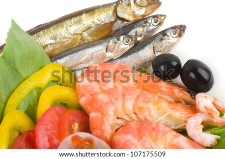 Raw cocktail of seafood with vegetables - stock photo