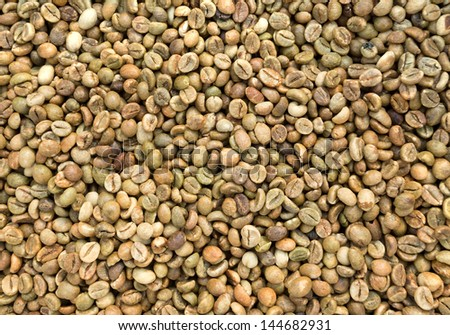 Raw coffee beans for background.