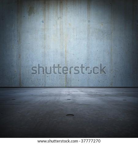 Raw concrete grunge room - stock photo