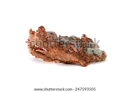 Raw Copper Nugget - Close-up of a native copper nugget with crystal impurities.  Studio macro.  Isolated on white.  Sample is from Upper Michigan's Keweenaw. - stock photo