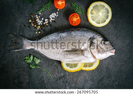 Raw dorada fish with ingredients on dark background  - stock photo