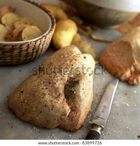 Raw duck foie gras - stock photo