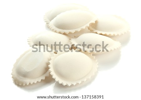 Raw dumplings, isolated on white