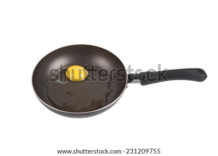 raw egg in a frying pan isolated on white background - stock photo