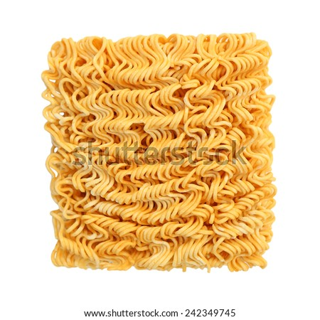 Raw egg noodles isolated on white background - stock photo