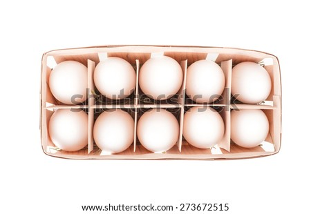 Raw Eggs in box on white background top view - stock photo