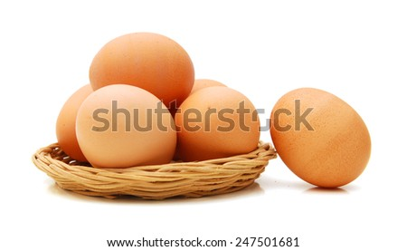 Raw eggs isolated in basket on white background