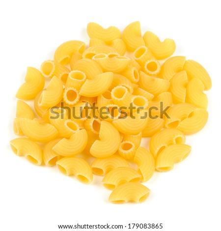 Raw Elbow Macaroni (Gomiti Pasta) Isolated on White Background - stock photo