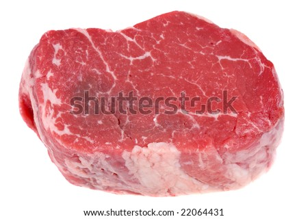 Raw fillet steak isolated on white background - stock photo