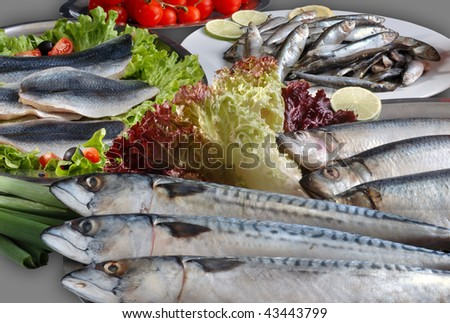 raw fish arranged on the table