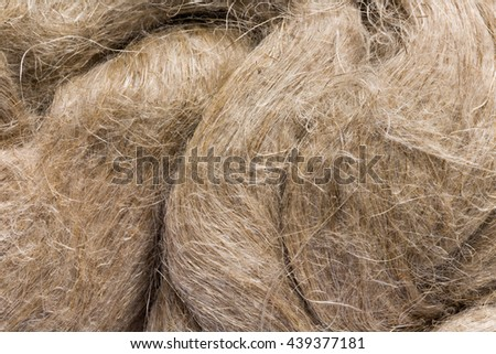 Raw flax as it is used in paper industry and for making linen cloth - stock photo