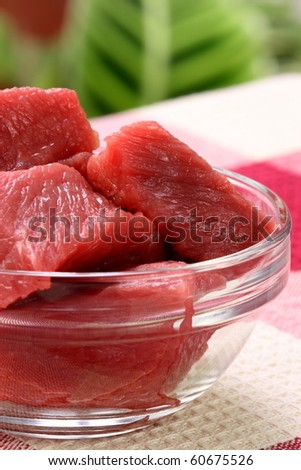 raw fresh and juicy chunks of beef tenderloin great for skewers and kabobs - stock photo