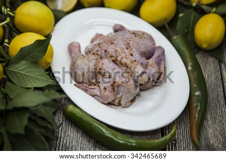 Raw fresh chicken on porcelain plate with lemon and chili  on the wooden background. - stock photo