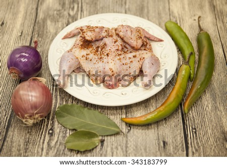 Raw fresh chicken on porcelain plate with lemon onion and chilli  on the wooden background. - stock photo