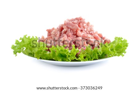 Raw fresh minced meat  isolated on white background - stock photo