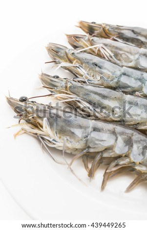Raw fresh prawn and shrimp isolated on white background
