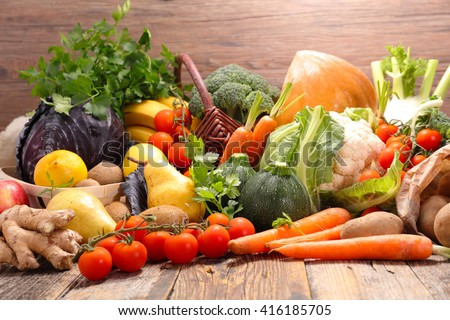 raw fruit and vegetable - stock photo
