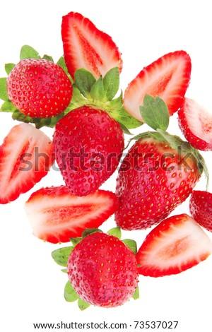 raw fruits: fresh ripe strawberry isolated over white . shallow dof - stock photo
