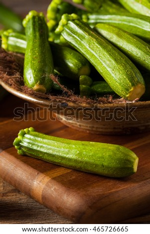 Raw Green Organic Baby Zucchini in a Bowl