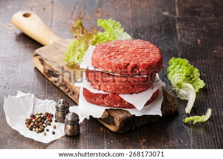 Raw Ground beef meat Burger steak cutlets and seasonings on dark wooden background - stock photo