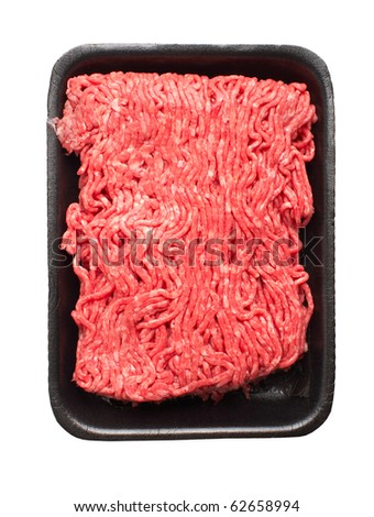 Raw ground meat. Isolated over white background - stock photo