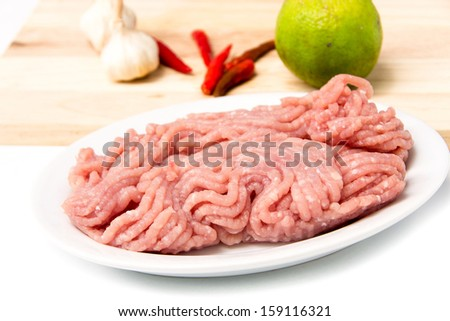 raw ground meat  on white plate for cooking - stock photo