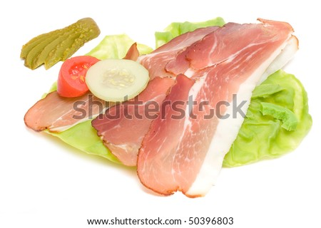 Raw ham from pork and salat
