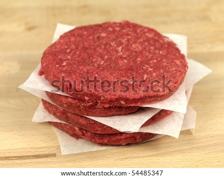 raw hamburger patties on a kitchen bench - stock photo