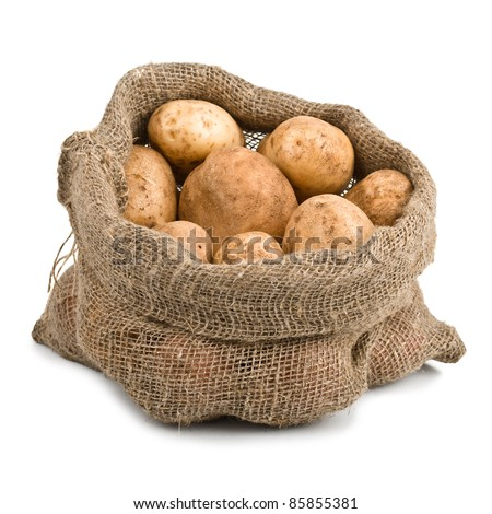 Raw Harvest potatoes in burlap sack on white background