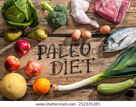 Raw healthy dieting products for Paleo diet - stock photo