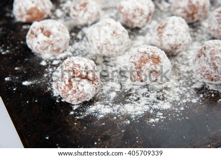 Raw Homemade Meatballs Ready for Cooking - stock photo
