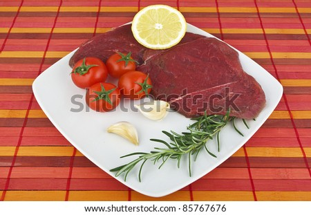 raw  horse meat in the plate