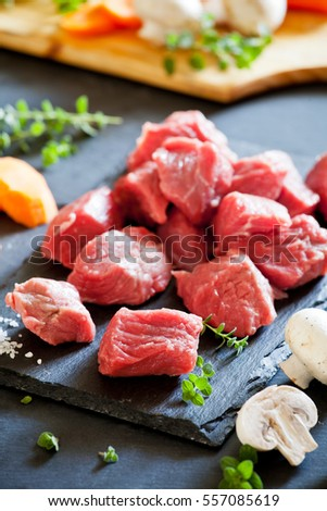 Raw ingredients for a tasty boeuf bourguignon