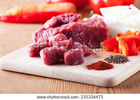 raw ingredients of a hungarian goulash dish  - stock photo