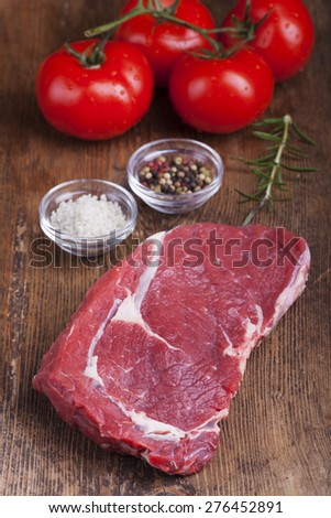 raw juicy beef steak  - stock photo