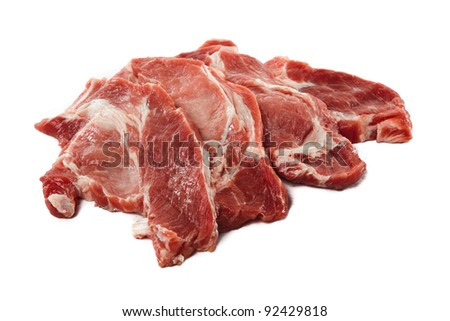 Raw juicy meat. Isolated on a white background - stock photo
