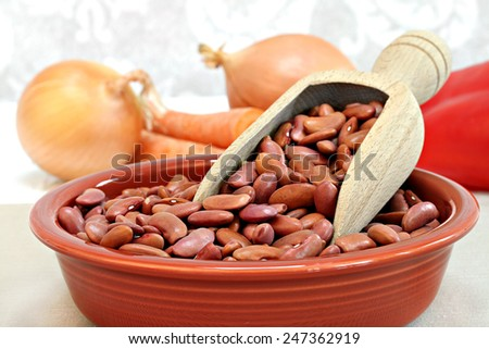 Raw kidney beans with a wooden scoop in a bowl, selective focus macro with copy space. - stock photo