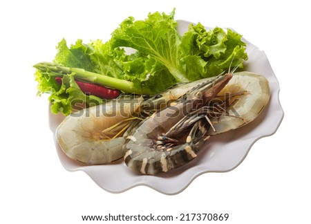 Raw King and waterleg shrimps - stock photo