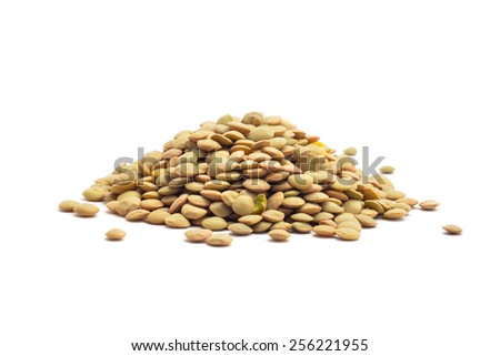 raw lentil beans isolated on white