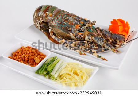 Raw lobster on white disk   - stock photo