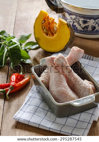 Raw local authentic ingredients of Thai food: prepare for cook chicken curry or Kaeng Phed Kai in Thai name. - stock photo