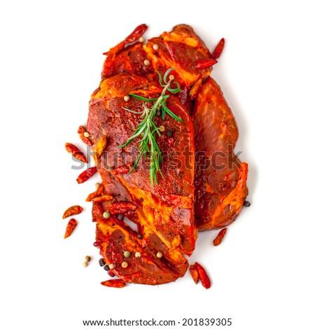 Raw Marinated Meat - stock photo