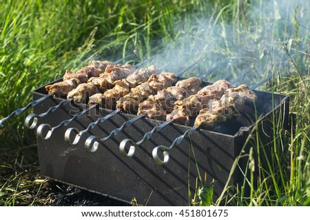 raw marinated meat with smoke on metal kebab skewers in brazier, in a green nature background - stock photo