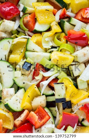 Raw marinated vegetables background, closeup