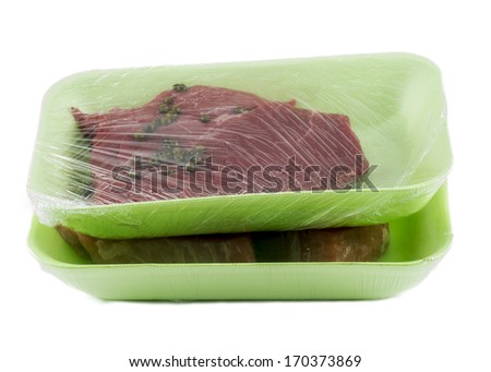 raw meal in box for market on white background - stock photo