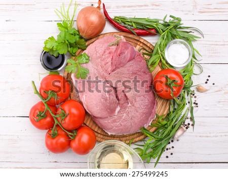 Raw meat. - stock photo