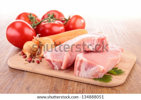 raw meat and ingredient - stock photo