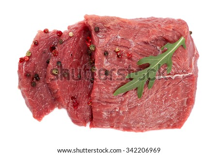 Raw meat and spices isolated on white background. - stock photo