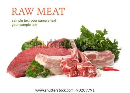 raw meat assortment - stock photo