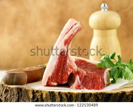raw meat, lamb chops - stock photo